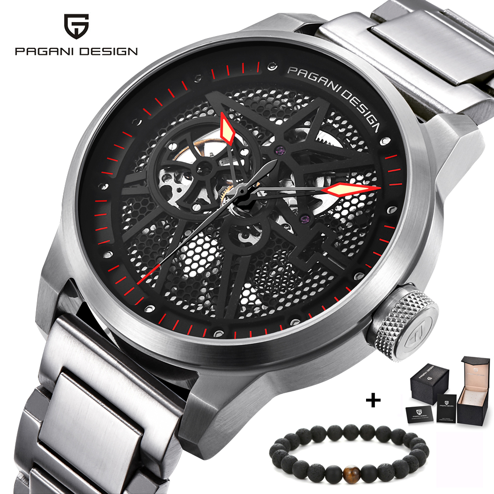 PAGANI DESIGN Hollow skeleton mechanical watches for men waterproof transparent bottom watch men's stainless steel wristwatch-in Mechanical Watches from Watches    1