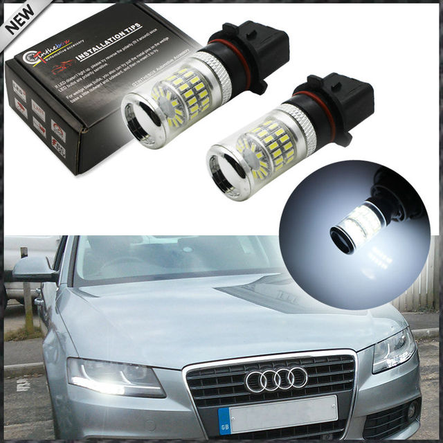 2pcs Error Free White P13W LED Bulbs w/ Reflector Mirror Design For 2008 12 Audi B8 model A4 or S4 with halogen headlight trims