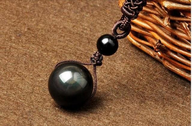 Natural Obsidian Rainbow Eye  Good Luck Bead Pendant Necklace
