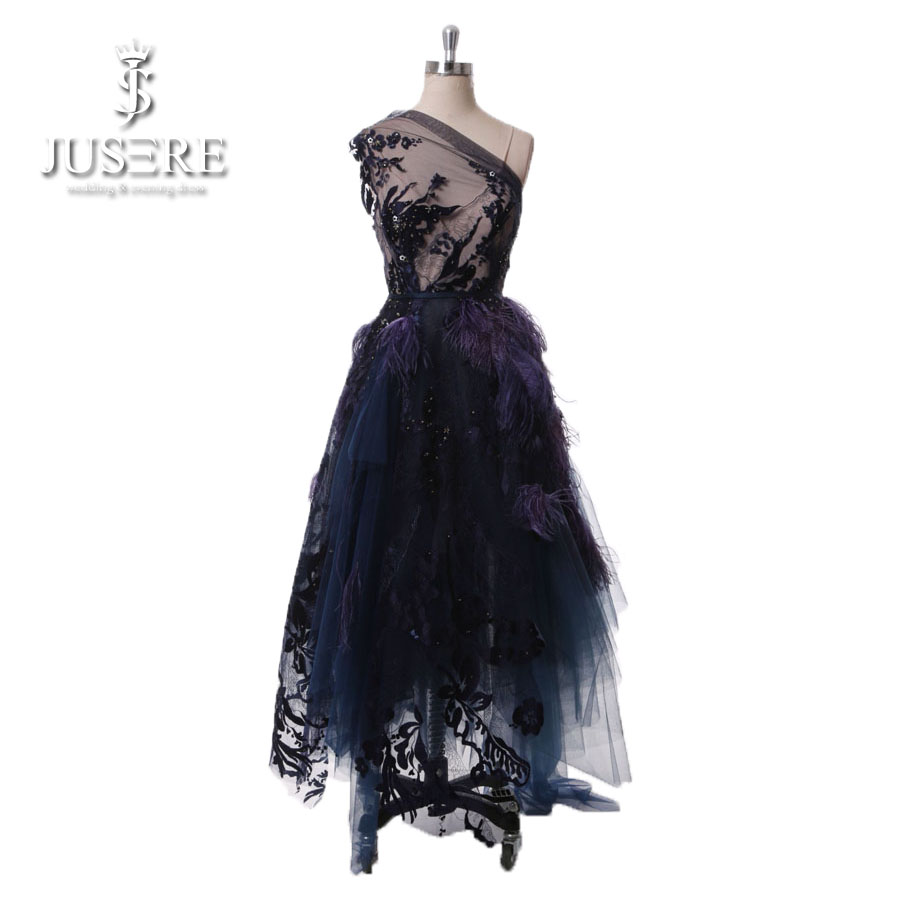 Jusere Orginal Design Illusion Bodice Embroidery Lace Sequins Backless One Shoulder Deep Purple Feather Short Evening Dress 2018