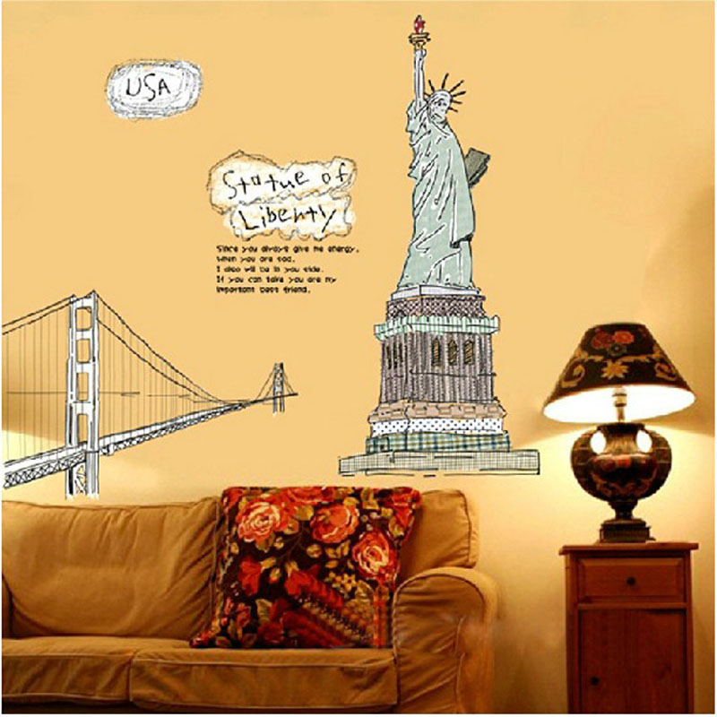 Famous New York Themed Wall Art Illustration - Wall Art Design ...