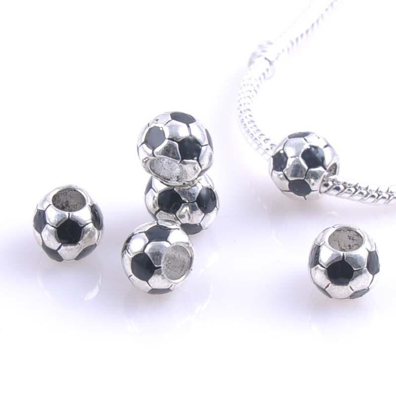 10mm 10 Stücke Silber Fußball Distanzscheiben-korne Fit Charms Armbänder Schmuck Handgemachte Diy Extanpaa Flfaocma Dk-050-x