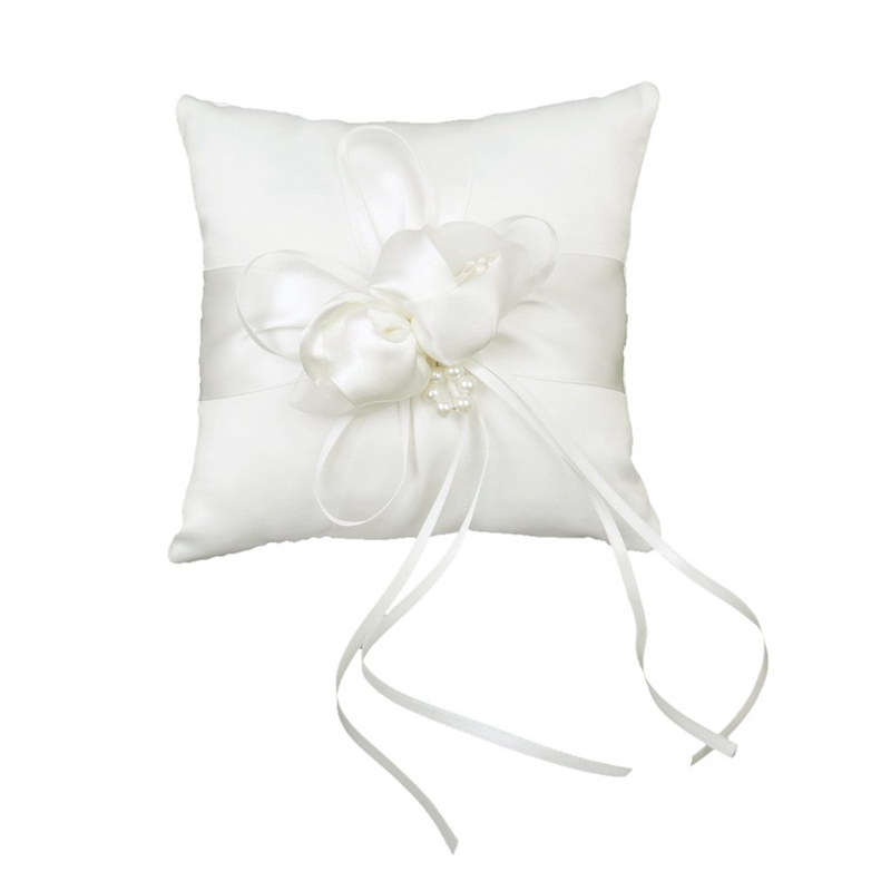 Lovely Ivory Bud Flower Wedding Ring Pillow 6 Inch X 6 Inch