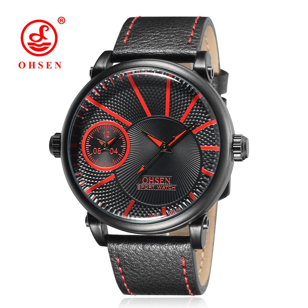 Prix pour OHSEN Célèbre Homme D'affaires Horloge Quartz Montre Homme Hommes Montre-Bracelet Militaire Bracelet En Cuir Relogio Masculino Rouge Montre Étanche