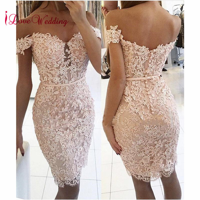 Hot New 2019 Sweetheart Off the Shoulder Lace Applique Beaded Pink Lace Fashion Party Cocktail Dresses
