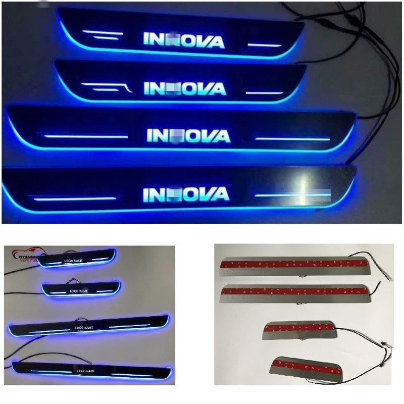 LED DOOR SILL PLATE LIGHTS moving door scuff Nerf Bars Running Boards entry guards covers fit for TOYOTA INNOVA CAR DOOR PLATE 4 hammered blk hd oval side step nerf bars running boards 05 11 dakota club cab