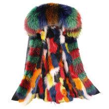 купить Natural Fur long winter jacket women outwear thick parkas raccoon natural real fur collar coat hooded real warm raccoon fur дешево
