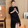018# S~3XL Black Maternity Long Dress 2016 Autumn Korean Fashion Clothes for Pregnant Women Black Pregnancy Dress Vestidos