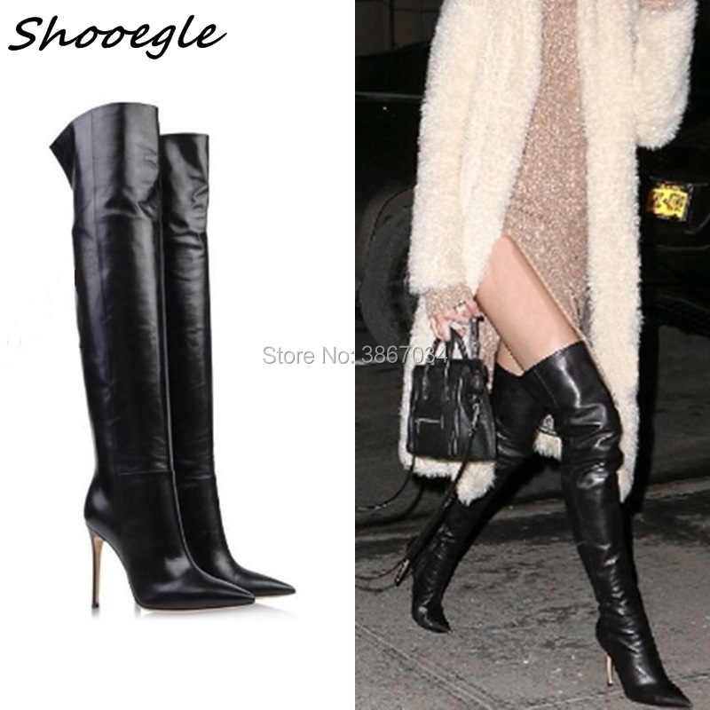 SHOOEGLE Celebrity Black Leather Stiletto High Heels Over The Knee Boots  Long Boots 2018 Women Shoes cd903b6b1a33
