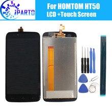Homtom ht50 display lcd + tela de toque 100% original lcd digitador substituição do painel de vidro para homtom ht50 + ferramenta + adesivo.