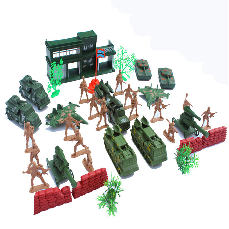 Action & Toy Figures 38pcs /set Wwii 5cm Soldier Military Man Plastic Military Suit Of Model Aircraft And Tanks Scene Sand Table Mode Plastic Toy Kit