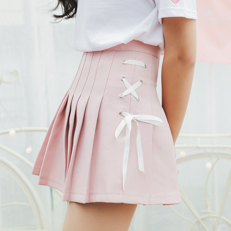 2020 Women'S Korean Harajuku Ulzzang Bow Tie Cute Punk Funny Vintage Pleated Skirt Female Cute Japanese Kawaii Skirts For Women
