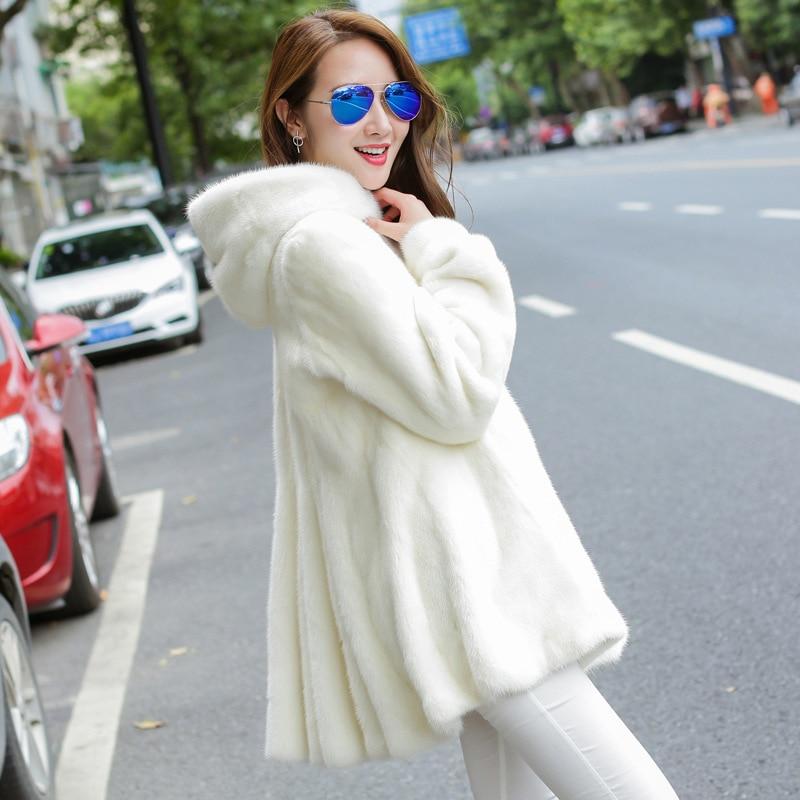 2017 New Plus Size XXXL Winter Warm White Faux Fur Coats With Hood Luxury white black long Hairy Fur Coats For Women