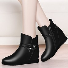 Women High Heels Ankle Boots Female Genuine Leather Sheepskin Woman Spring Autumn Casual Shoes Black Big Size 35-40 YG-A0020 цена