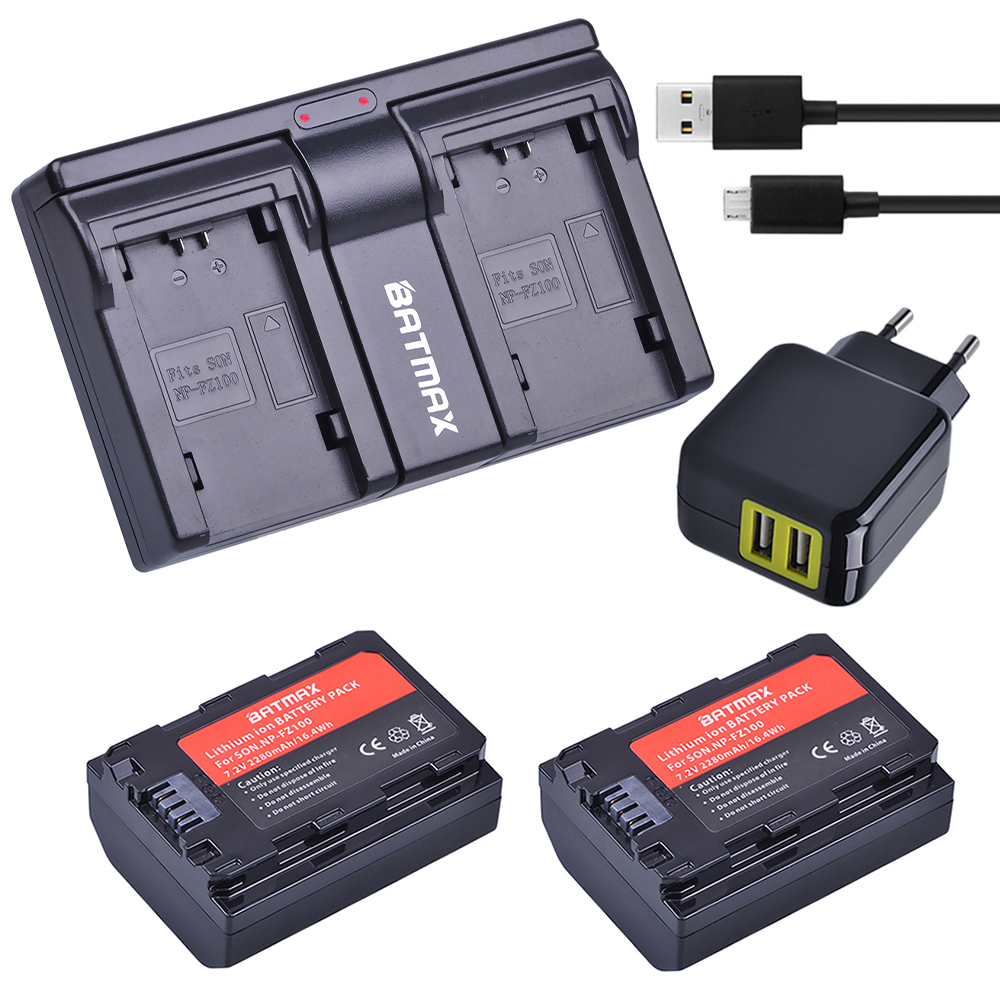 2Pc 2280mAh NP-FZ100 NP FZ100 FZ100 Battery + USB Dual Charger + AC Adapter for Sony NP FZ100 Battery Sony A9, A7R III, A7 III durapro 4pcs np f970 np f960 npf960 npf970 battery lcd fast dual charger for sony hvr hd1000 v1j ccd trv26e dcr tr8000 plm a55
