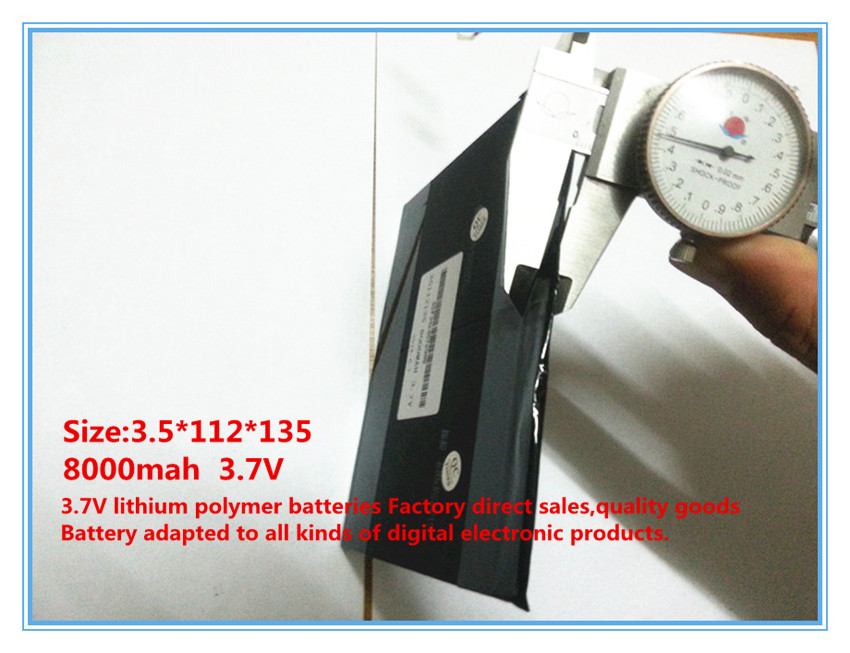 3.7 V, 8000 mAh, polimer lityum iyon / tablet pc için Li-ion pil, - Tablet Aksesuarları - Fotoğraf 2