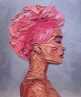 Pink Woman Portrait Artwork Oil Knife Canvas Painting for Entrance Family Room Wall Decor Abstract Hand Painted Wall Art Custom