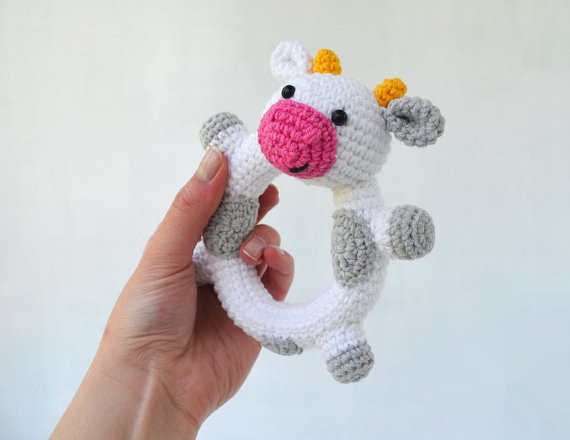 Crochet Rattles Toy Baby Rattler baby Rattle Happy Cow Rattle