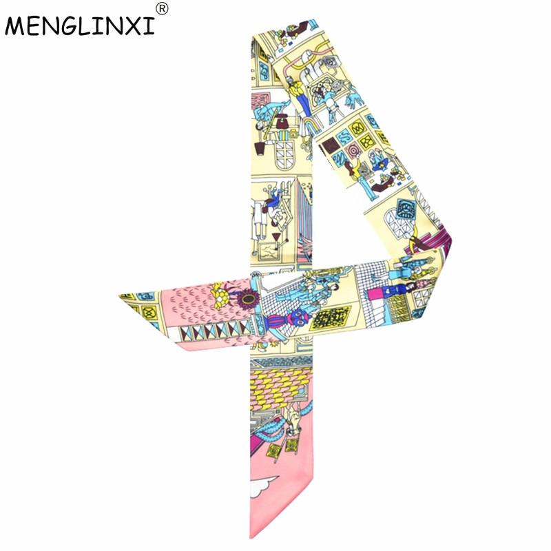 2019 New Scarf Paris Family Print Women Silk Scarf Fashion Head Scarf Brand Small Tie Handle Bag Ribbons Small Long Scarves MR