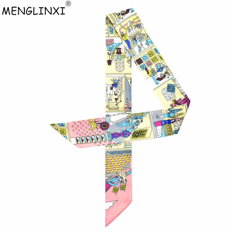 2020 New Scarf Paris Family Print Women Silk Scarf Fashion Head Scarf Brand Small Tie Handle Bag Ribbons Small Long Scarves MR