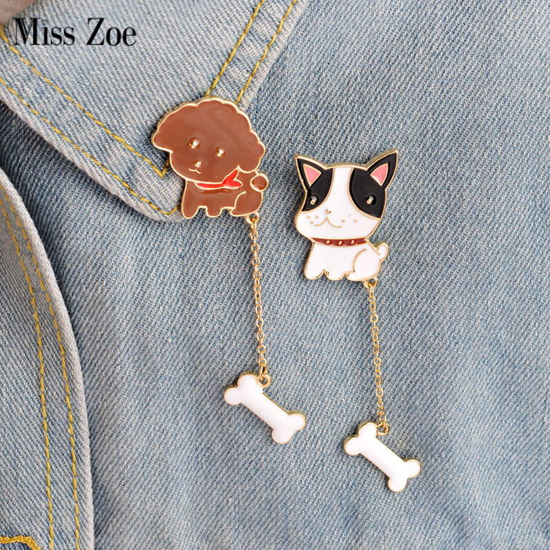 Miss Zoe 2pcs/set Cute Dog Poodle French Bulldog Puppy Bone Chian Brooch Pins Button Denim Jacket Pin Badge Gift Animal Jewelry