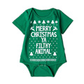 Merry Christmas Ya Filthy Animal Baby Short Sleeve Bodysuits Adorable Infant Clothes YM71PF