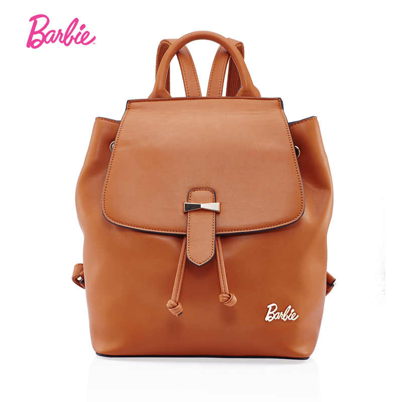 Barbie Women backpacks simple soft girl bags PU leather Fashion Trend Brief bag for young lady