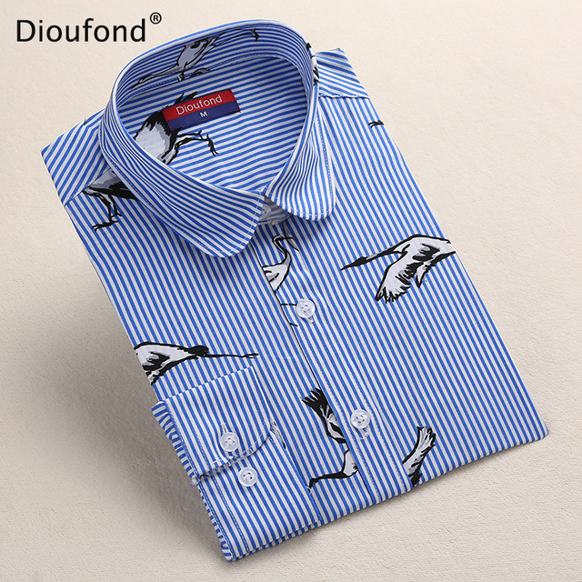 Dioufond Black Flower Print Blouse Women Turn Down Collar Button Down Blouse Shirt Casual Cotton Shirts Plus Size S-5XL 2017