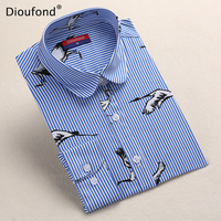 Dioufond Black Flower Print Blouse Women Turn Down Collar Button Down Blouse Shirt Casual Cotton Shirts