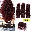 7А 99j Бразильские Волосы Бургундии Цветные Свободные Глубокая Волна Бразильский волос 100% Человеческих Волос Вьющиеся Ткачество Красный Цвет Человеческих Волос пучки