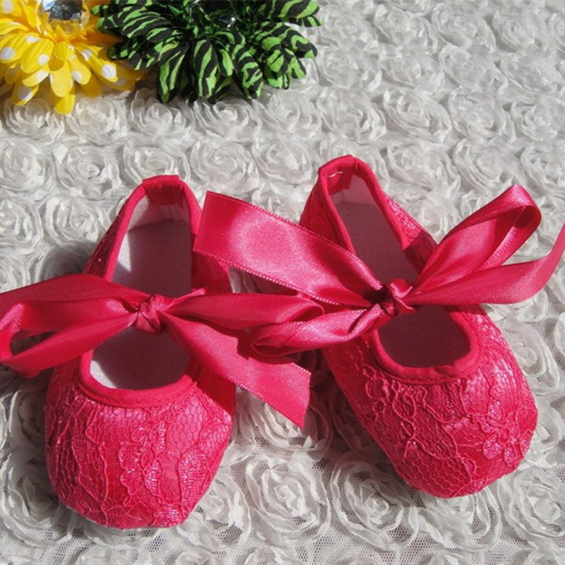 Hot Pink Lace Baby Shoes 2018 Spring Autumn New Design First Walker Girl Shoes Infant Newborn Shoes Footwear KP-A43
