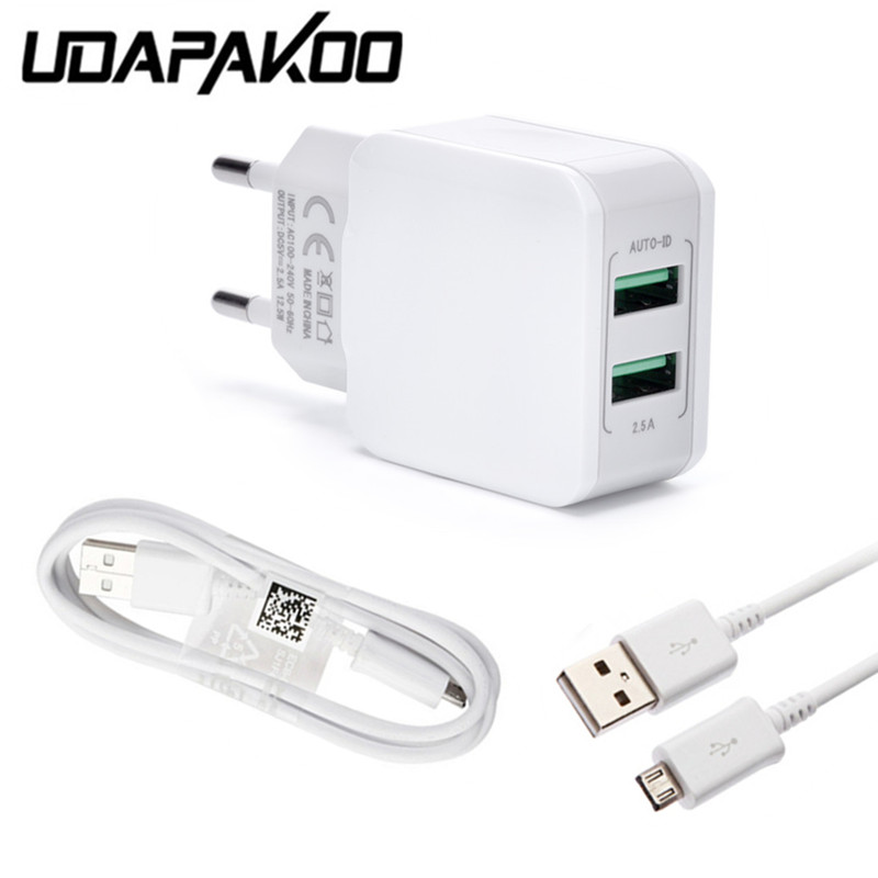 2-USB <font><b>port</b></font> EU Ladegerät Adapter + 1m micro usb quick charge kabel Für <font><b>samsung</b></font> Galaxy j2 Core j7 <font><b>j3</b></font> j5 s4 a6 Redmi 6 4x 4a android image