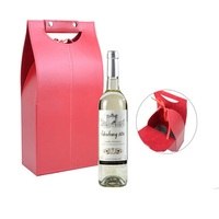 Free Shipping 2 Bottle Standard Wine Bottle Bag With Handle Wine PU Gift Box Black Or