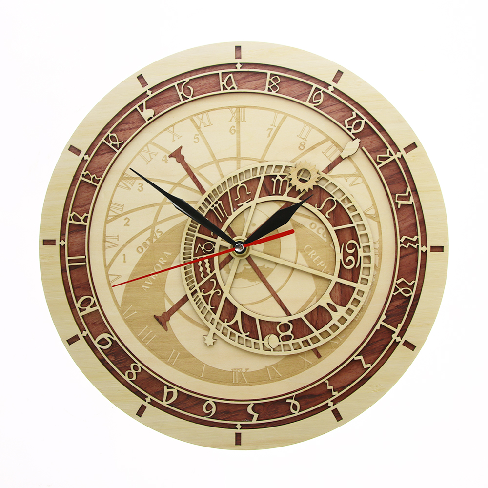 Prague Astronomical Clock In Wood Czech Republic Medieval Astronomy Wall Art Astrology Decorative Wall Watch Artwork Prague Gift