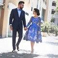 Azul Royal Vestidos de Baile Árabe Lace Curto Elegante Uma Linha de Vestidos de Formatura Baratos 2017 Vestido De Formatura Vestido Renda