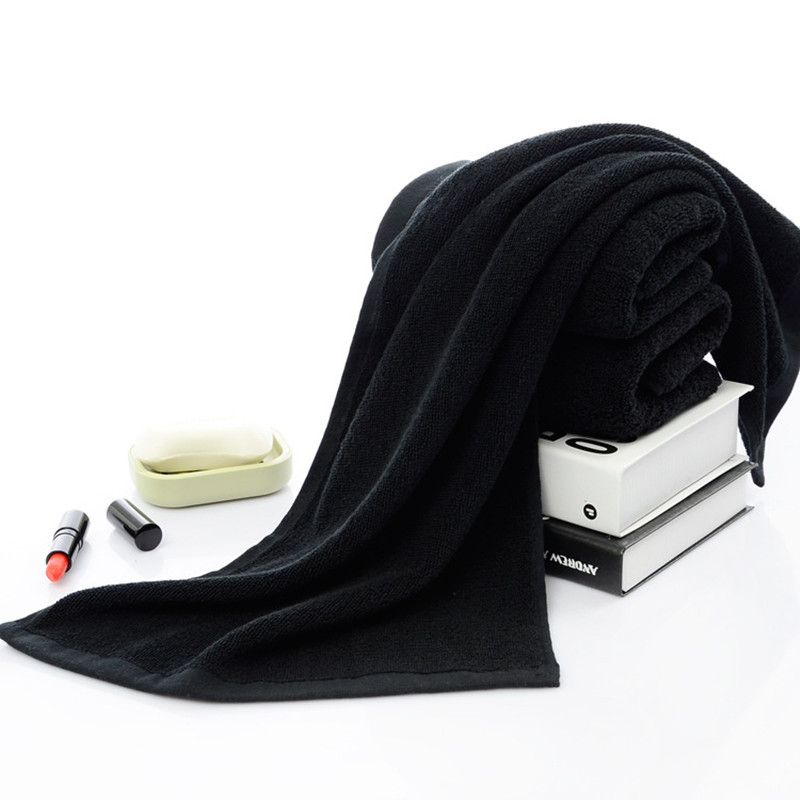 Solid Black Towels Cotton Face Towel Hotel Bathroom Beauty Parlor Home Drying Soft Washcloth for Women