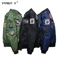 Fashion Men MA1 Air Force Flight Bomber Thicker Cotton Jacket Embroidery Patch Badge Padded Coat Black