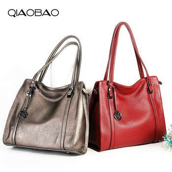 QIAOBAO 100% Genuine Leather Women Casual Totes Top-handle Bags Women Handbags Female Shoulder Bags Feminina Bolsos Sac
