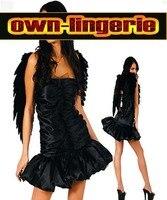 free shipping black angel costume with accessory down heaven dark angel costume X4309