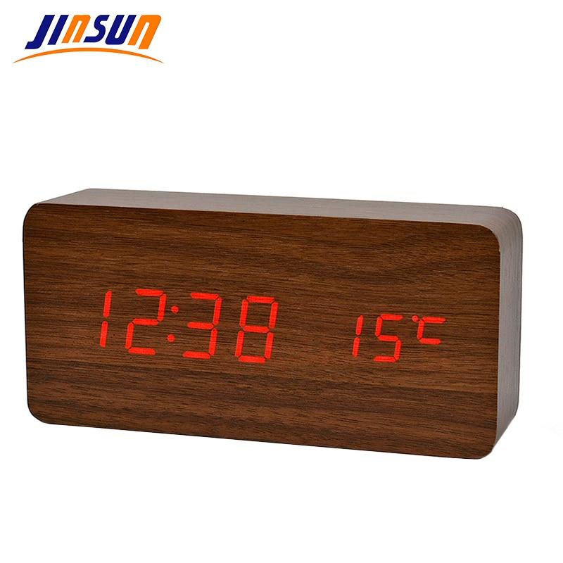 JINSUN antik stílusú fa óra LED kijelző bambusz óra digitális - Lakberendezés