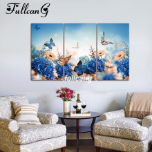 FULLCANG Full Square Diamond Embroidery Butterfly And Flowers Diy 5D Painting Cross Stitch Triptych Mosaic Arts F865