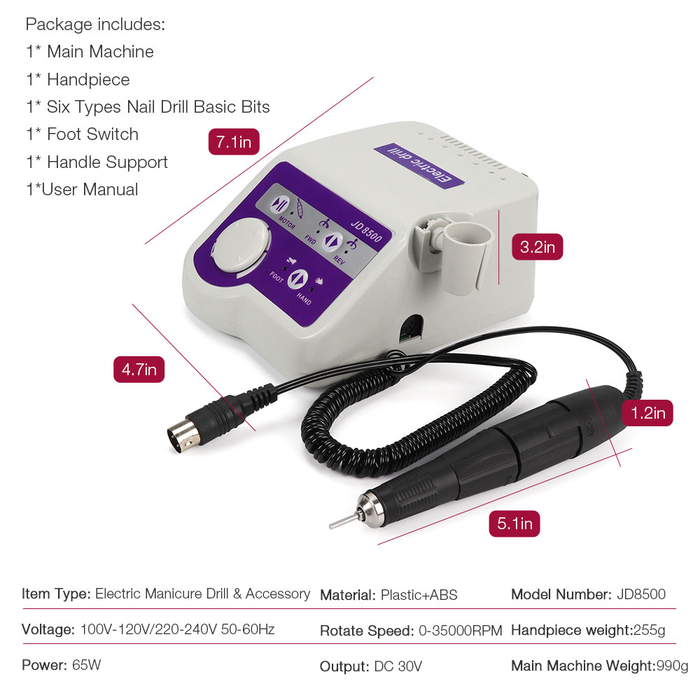 Factory Professionals JSDA JD8500 Electric Nail Drill Manicure Machine Tool Pedicure Polisher Nails Art Equipment 65W 35000RPM