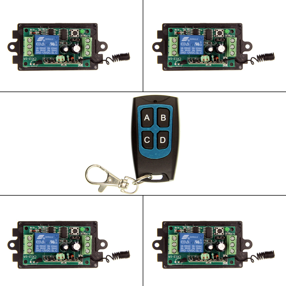 DC 9V 12V 24V 1 CH 1CH RF Wireless Remote Control Switch System,315/433.92 MHZ 4CH Waterproof Transmitter And 4 X Receivers