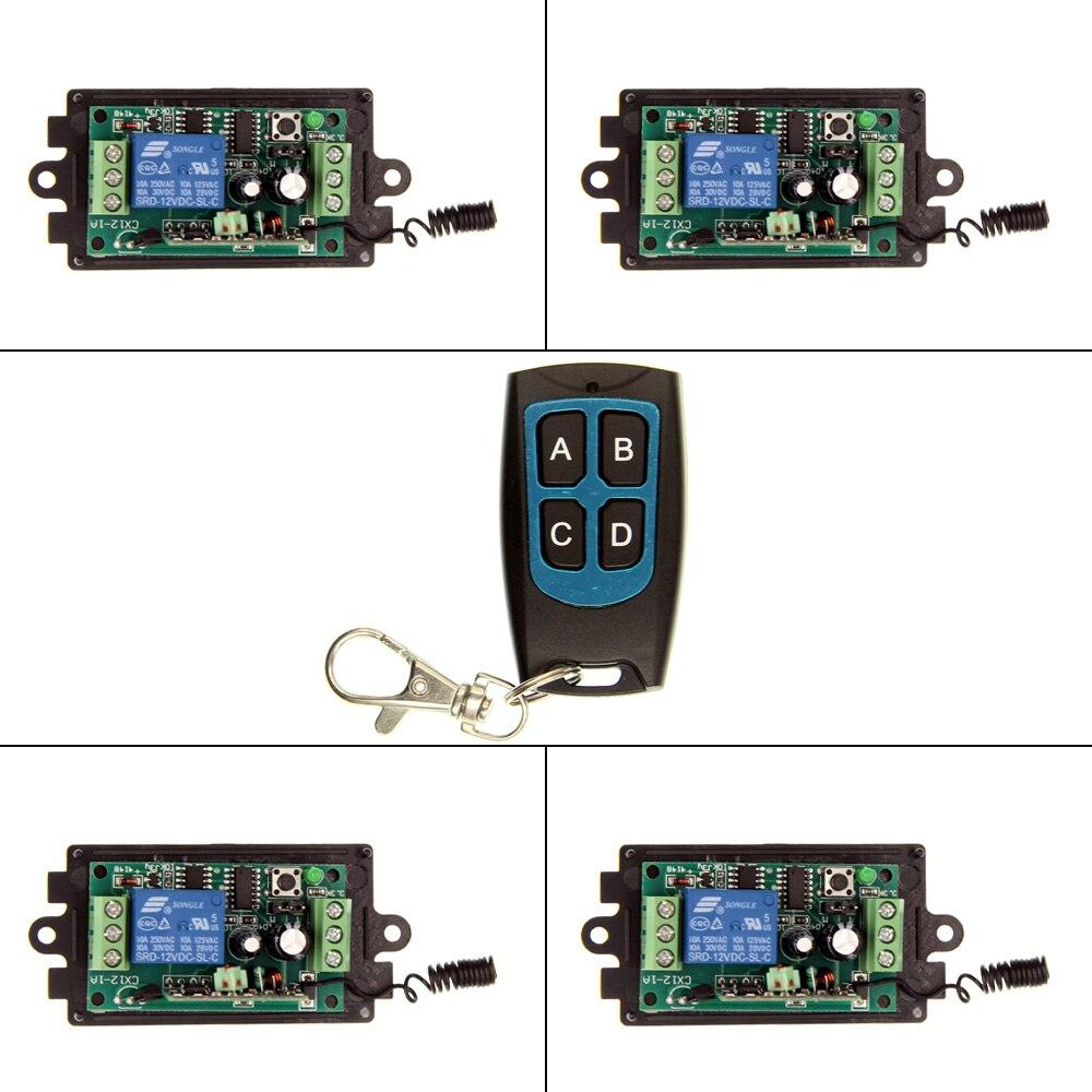 DC 9V 12V 24V 1 CH 1CH RF Wireless Remote Control Switch System,Waterproof Transmitter & 4 Pcs Receiver цена