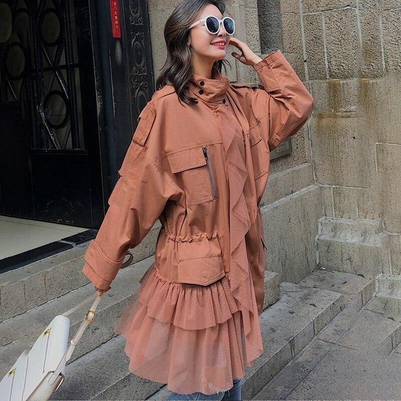 Tops Brown Trench 2018 green Tailles Maille Longues Grandes vent Manches Femme Casual Coupe Patchwork Twotwinstyle Manteaux Femmes Coat Manteau Coat À Nouveau Automne 9EDIW2H