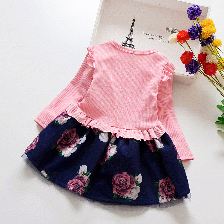 HTB1ToYyXUzrK1RjSspmq6AOdFXa2 Spring Autumn Toddler Girl Dress Cotton Long Sleeve Toddler Dress Floral Bow Kids Dresses for Girls Fashion Girls Clothing