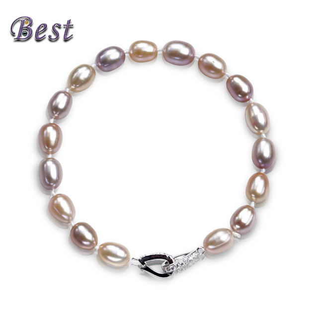 9db71d6f642d39 Best Pearl 100% Real Natural Freshwater Pearl Bracelet With 925 Sterling  Silver Clasp Cultured Genuine