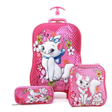 Boys and girls wheeled trolley car rolling suitcase bags Trolley  childrens school backpack children on wheels
