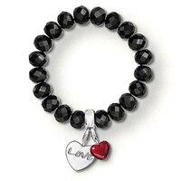 TS Schmuck Schwarzem Obsidian Stein Armbänder mit LIEBE Herz Charme, Thomas Stil Silber Überzogen Modeschmuck für Frauen Männer