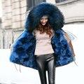 Mulheres Jaqueta de inverno 2016 Da Marca Luxry Grande Natural Raccoon Fur Com verdadeira Pele De Raposa Forro de lã Grossa Quente Para Baixo Parka Outwear Exército Verde